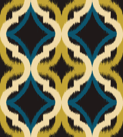 Seamless ogee ikat, vector ethnic background, traditional eastern pattern in golden and teal tones.