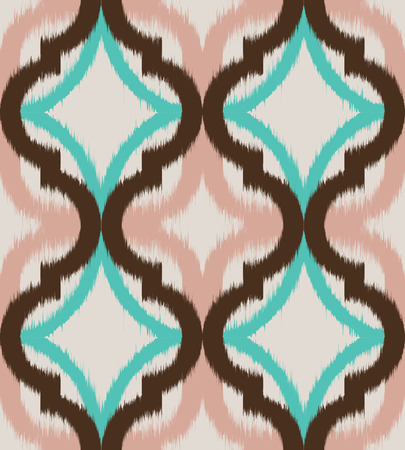 ecru: Seamless ogee ikat, vector ethnic background, traditional eastern pattern in coral pink, aqua blue and mokka brown on ecru background. Illustration