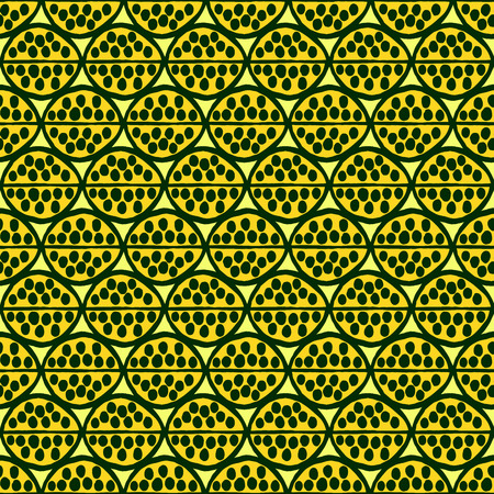 citric: Seamless primitive floral pattern with abstract leaves. Tribal ethnic background, simplistic geometry, citric colors. Textile design. Illustration
