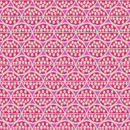 simplistic: Seamless primitive floral pattern with abstract leaves. Tribal ethnic background, simplistic geometry, fuchsia and beige. Textile design.