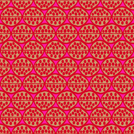 ocher: Seamless primitive floral pattern with abstract leaves. Tribal ethnic background, simplistic geometry, pink ocher red. Textile design.