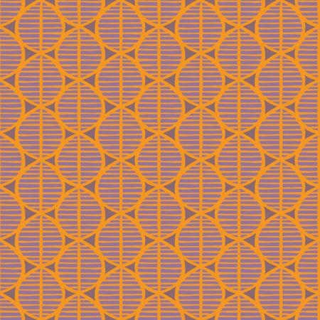 Motif floral sans couture primitif avec des feuilles. Origine ethnique tribal, géométrie simpliste, jaune et violet. Conception de textile