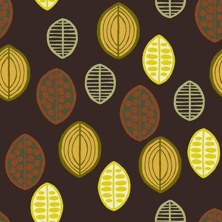 Seamless floral pattern avec des feuilles primitives. Seamless floral pattern avec des feuilles primitives. origine ethnique tribal, les tons verts sur fond brun. Design textile.