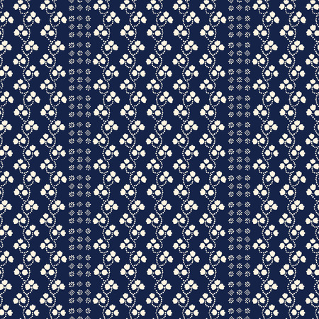 loach: Traditional block printed ornament. Seamless floral pattern, handmade Russian folk motif with clover and blocks in navy blue and ecru. Textile print.