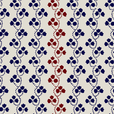 Traditional block printed ornament. Seamless floral pattern, handmade Russian folk motif with clover in navy blue, red and ecru. Textile print.