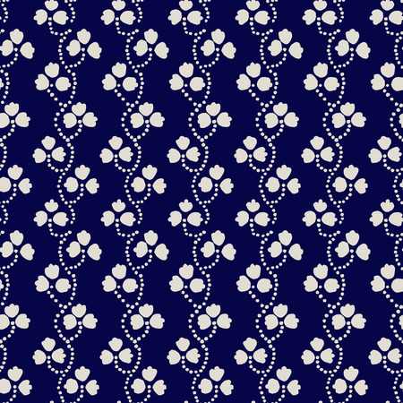 ecru: Traditional block printed ornament. Seamless floral pattern, handmade Russian folk motif with clover in navy blue and ecru. Textile print.