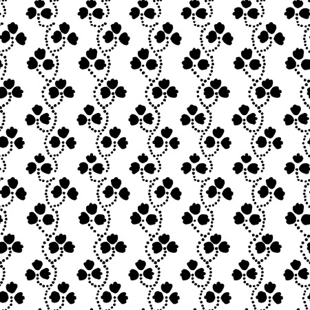 loach: Traditional block printed ornament. Seamless floral pattern, handmade Russian folk motif with clover in black and white. Textile print.