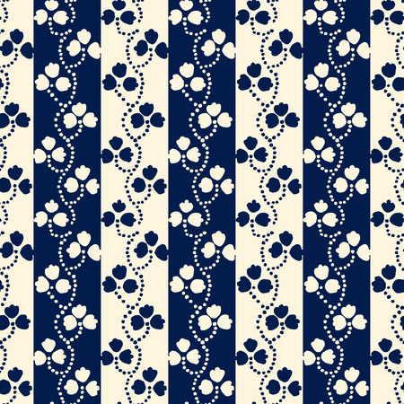 loach: Traditional block printed ornament. Seamless floral pattern, handmade Russian folk motif with clover on stripped background in blue and ecru. Textile print.