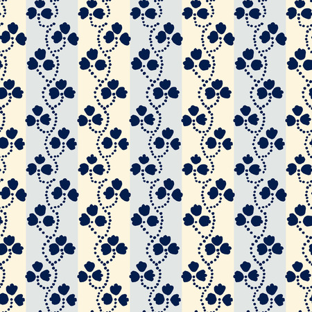 Traditional block printed ornament. Seamless floral pattern, handmade Russian folk motif with blue clover on light gray and ecru stripped background. Textile print.