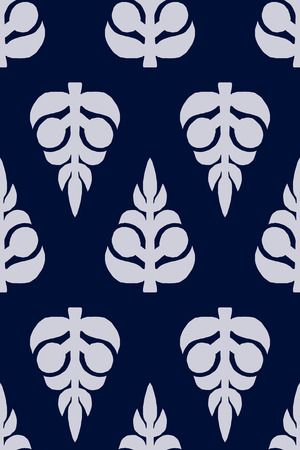 ecru: Vector seamless pattern, block printed floral background, handmade Russian motif ornament in navy blue and ecru. Textile print.
