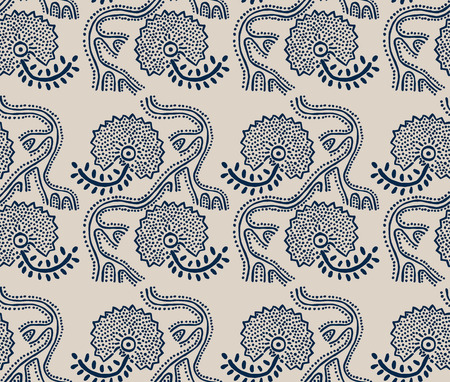 Seamless floral pattern, traditional block printed ornament, handmade Russian motif with navy blue flowers on ecru background. Textile print. Illustration