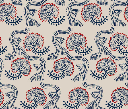 loach: Seamless floral pattern, traditional block printed ornament, handmade Russian motif with navy blue and red flowers on ecru background. Textile print.