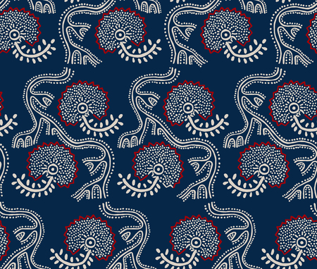 Seamless floral pattern, traditional block printed ornament, handmade Russian motif with ecru and red flowers on navy blue background. Textile print. Illustration