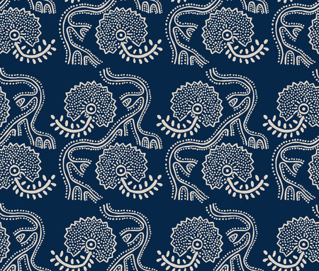 Seamless floral pattern, traditional block printed ornament, handmade Russian motif in navy blue and ecru. Textile print.