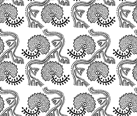 Seamless floral pattern, traditional block printed ornament, handmade Russian motif in black and white. Textile print.