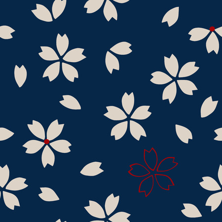 ecru: Seamless traditional Japanese sakura pattern, cherry blossom, ecru and red on navy blue background. Ethnic textile design. Illustration