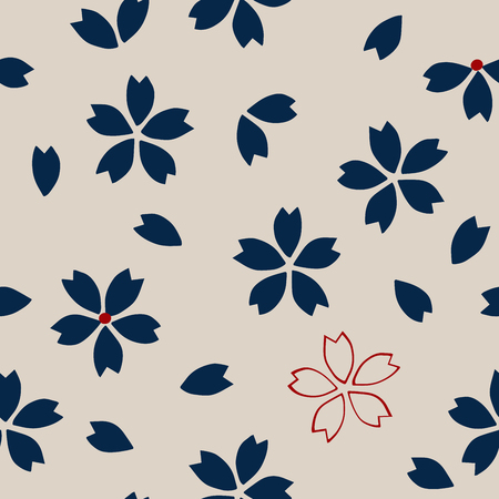 ecru: Seamless traditional Japanese sakura pattern, cherry blossom, navy blue and red on ecru background. Ethnic textile design.