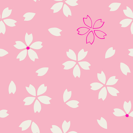 ecru: Seamless traditional Japanese sakura pattern, cherry blossom, ecru and magenta on pink background. Ethnic textile design. Illustration