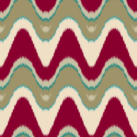 gobelin: Seamless vector ikat pattern. Abstract wave background, tribal saddle ornament, in maroon, green and beige. Geometric layout for textile design.