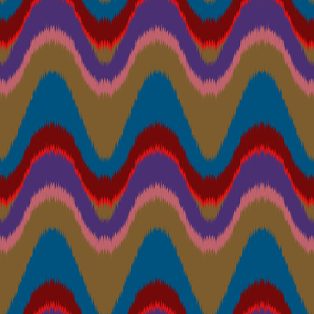 gobelin: Seamless vector ikat pattern. Abstract wave background, tribal saddle ornament, bright colors. Geometric layout for textile design. Illustration
