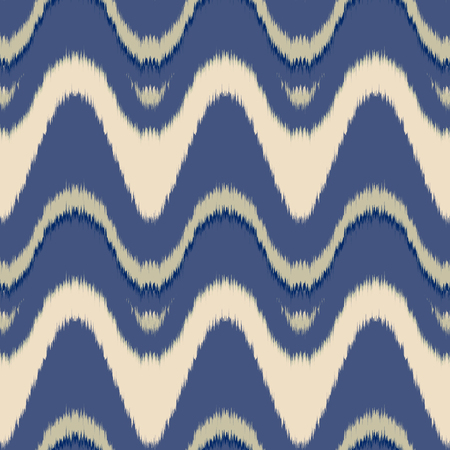 gobelin tapestry: Seamless vector ikat pattern. Abstract wave background, tribal saddle ornament, in blue and beige. Geometric layout for textile design.
