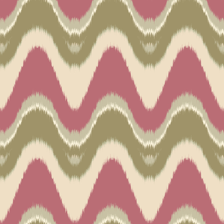 gobelin tapestry: Seamless vector ikat pattern. Abstract wave background, tribal saddle ornament, in pink, green and beige. Geometric layout for textile design.
