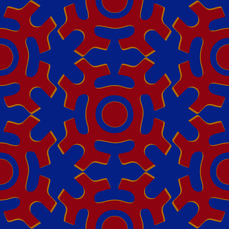 shamanic: Tribal seamless pattern. Siberian folk geometric print with solar symbol of mansi people in their authentic colors red and blue. Hand drawn ethnic ornament.