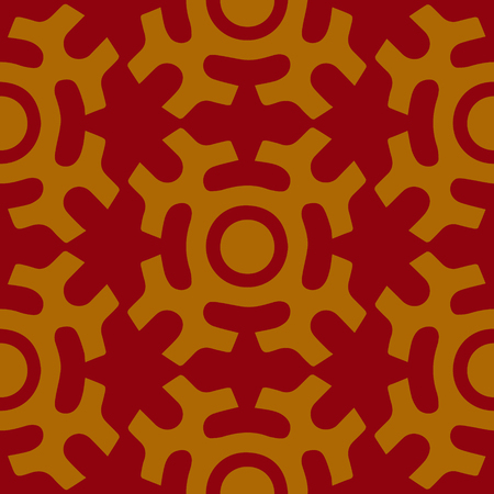 shamanic: Tribal seamless pattern. Siberian folk geometric print with solar symbol of mansi people in their authentic colors yellow and red. Hand drawn ethnic ornament.
