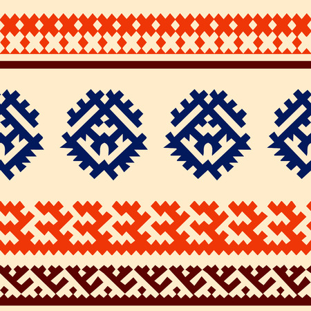ecru: Tribal seamless pattern. Siberian folk geometric print with ornamental motifs of khanty people in their authentic colors blue, orange and brown on a ecru background. Hand drawn ethnic ornament.