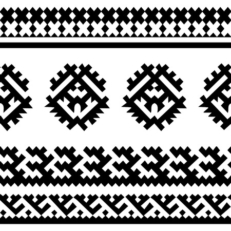 siberian: Tribal seamless pattern. Siberian folk geometric print with ornamental motifs of khanty people, black and white. Hand drawn ethnic ornament.