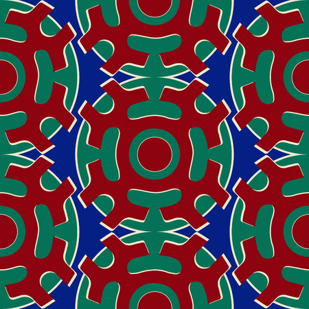 shamanic: Tribal seamless pattern. Siberian folk geometric print with solar symbol of mansi people in their authentic colors red blue and green. Hand drawn ethnic ornament. Illustration