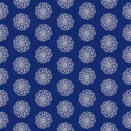 ecru: Paisley seamless vector pattern. Ethnic floral motif, primitive oriental flowers, dotted layout, ecru on blue background.
