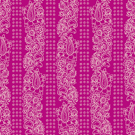 ecru: Seamless vector striped paisley pattern. Ethnic floral motif with stripes of flowers and blocks, primitive oriental elements, ecru on fuchsia background.