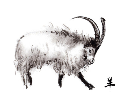 Kashmir goat oriental ink painting with Chinese hieroglyph goat. Symbol of the new year of goat, sheep.