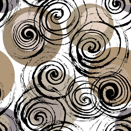 Swirl seamless pattern. Hand drawn black spirals on colorful circles, free layout. Sand tones. Textile design.