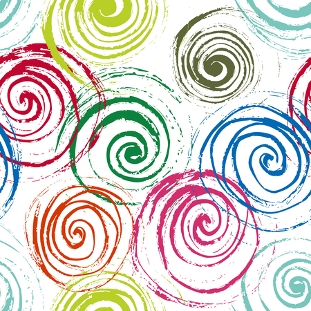 Swirl seamless pattern. Hand drawn spirals, free layout. Colors of garden flowers on white background. Textile design. Illustration