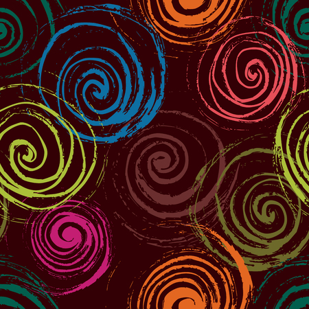 allover: Swirl seamless pattern. Hand drawn spirals, free layout. Colors of rain forest on maroon background. Textile design.