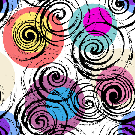Swirl seamless pattern. Hand drawn black spirals on colorful circles, free layout. Vibrant color explosion tones. Textile design.