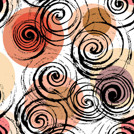 Swirl seamless pattern. Hand drawn black spirals on colorful circles, free layout. Coral, beige and orange tones. Textile design.