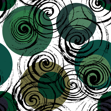 Swirl seamless pattern. Hand drawn black spirals on colorful circles, free layout. Deep forest. Textile design.