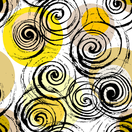 Swirl seamless pattern. Hand drawn black spirals on colorful circles, free layout. Yellow and sand tones. Textile design. Illustration