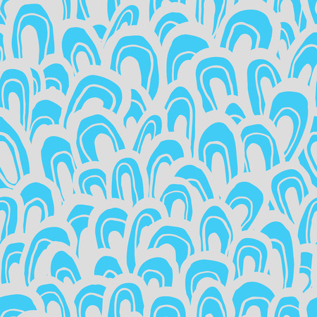 ecru: Seamless abstract pattern. Handmade shapes, looks like waves, fish scale or forest, aqua blue and ecru colors. Relaxed geometry. Textile design.