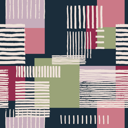 navy blue background: Striped geometric seamless pattern. Hand drawn uneven stripes on colorful rectangles, free layout. Pink and green tones on navy blue background. Textile design.