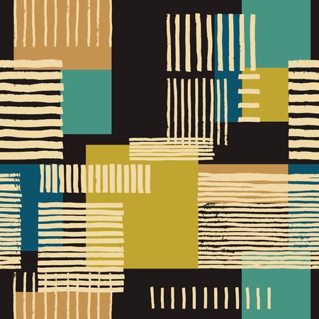 gold brown: Striped geometric seamless pattern. Hand drawn uneven stripes on colorful rectangles, free layout. Tones of gold and tile on dark brown background. Textile design.