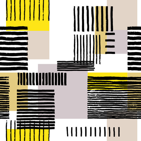 Striped geometric seamless pattern. Hand drawn uneven black stripes on colorful rectangles, free layout. Yellow and beige tones. Textile design.