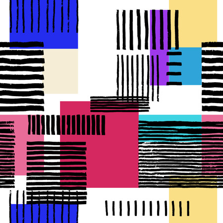 spectral: Striped geometric seamless pattern. Hand drawn uneven black stripes on colorful rectangles, free layout. Vibrant spectral tones. Textile design.