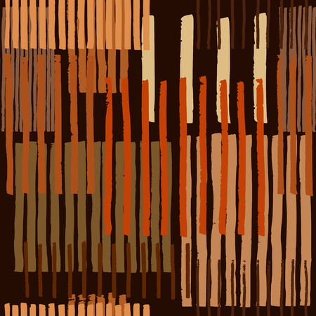 Striped geometric seamless vector pattern. Hand drawn uneven blocks of vertical stripes, free layout. Colors of honey or amber, on dark brown background. Textile design.