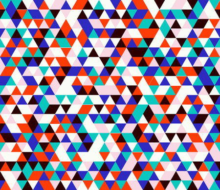 Retro style triangle pattern. Randomly colored triangles, slightly moved off grid. Colors of the jungle. Abstract geometric vector background.