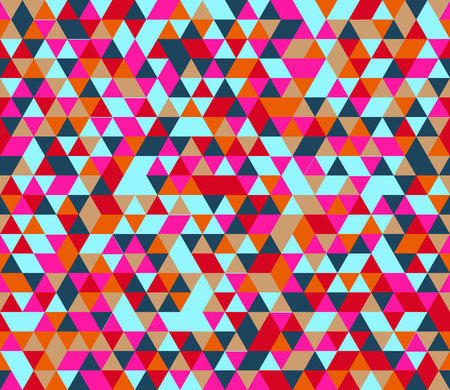 Retro style triangle pattern. Randomly colored triangles, slightly moved off grid. Exotic tones. Abstract geometric vector background. Illustration