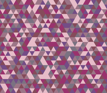 Retro style triangle pattern. Randomly colored triangles, slightly moved off grid. Mauve tones. Abstract geometric vector background.